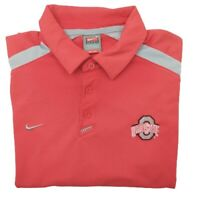 Vintage Nike Men's Large Red Ohio State Buckeyes Fit Dry Golf Polo Stretch Tour