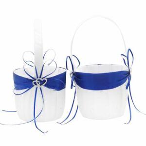 AmaJOY 2pcs Beach Wedding Flower Girl Basket White and Royal Blue Flower Basket