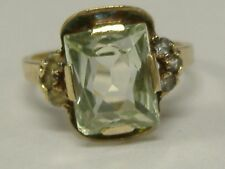 Light Green Stone Ring Size 6,5 Art Deco Solid 10 K Gold
