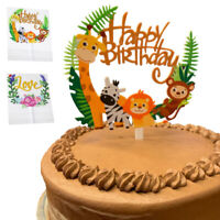 Happy Birthday Jungle Safari Animal Acrylic Cake Topper Color Giraffe Zebra Lion