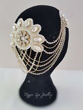 Vintage Bridal headpiece, Art Deco, up or down hairstyle back hair drapes chain