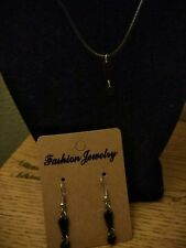 Black Plastic Exclamation Mark Dangle Earrings and Necklace - Free Shipping US
