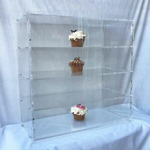 4-Tier Acrylic Bakery Pastry Display Case Cabinet Cakes Donuts Cupcakes Pastries