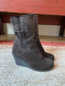 La Canadienne Suede Shearling Wedge Platform Boots, Brown, Waterproof, Size 7.5M