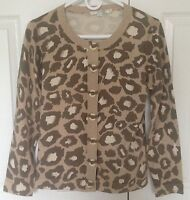 Boden Crew Neck Cardigan Sweater Buttons Ribbon UK Size 12 U.S. Women's Size 8
