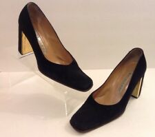 Gianmarco Lorenzi Heels 37 ( 6.5) Black Suede Gold Tone Accents Made In Italy