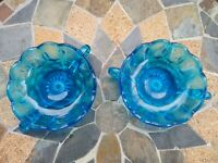 SET OF TWO Vintage Glass Blue Trinket Dishes Catchalls - Great Condition!
