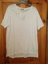 Zara White T-shirt, With Feather Design Brand New With Tags