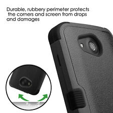 Kyocera Hydro Wave / Air - HARD&SOFT RUBBER HYBRID ARMOR PHONE CASE COVER BLACK