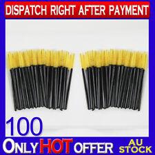 100 Pack Disposable Mascara Wands Eyelash Brush Set Handy Yellow