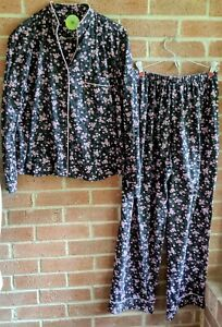 White Orchid Black Pink Floral Pajamas Set Short Sleeve Shirt Pants Sz Petite M