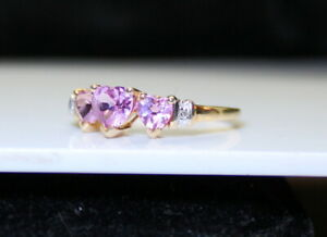Pretty Ladies 10K Gold Estate .80 Ct Pink Ice Heart & Diamond Ring Not Scrap