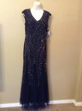 NWT, XSCAPE, Navy, Size 12, Long Gown Dress, Holiday Beaded, $278 Originally