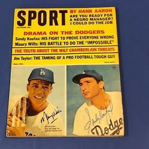 SANDY KOUFAX & MAURY WILLS  Hand Signed on cover October 1965  Sport Magazine