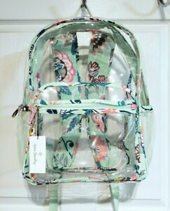 NWT Vera Bradley Clearly Colorful Large Backpack ~MINT FLOWERS~ Floral NEW