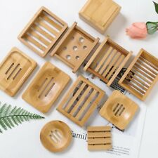 Wooden Natural Bamboo Soap Dishes Tray Holder  Soap Rack Plate Box Container