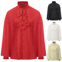 Men's High Neck Frilly Steampunk Gothic Ruffle Long Sleeve Victorian Top Blouse