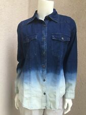 NWT Dg2 By Diane Gilman Woman Shirt  Denim Thin SZ XS  100% Cotton Tie Dye