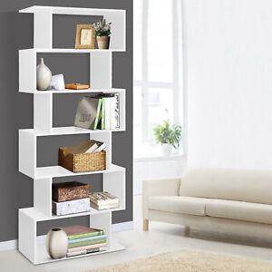 Artiss 6 Tier Display Cabinet Shelf Storage Bookshelf Bookcase Stand Rack White