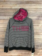 NWT Tommy Hilfiger Womens M Blue & White Striped Hoodie with Thumbholes