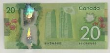 Canadian 2012 $20 Radar Note Frontiers issue Serial # BSV2869682