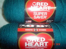 3 Skeins of Red Heart Super Saver WW Yarn in Real Teal  #0656