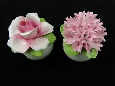 Pink Flower with White Base Salt and Pepper Shakers pat 9 no England 439062