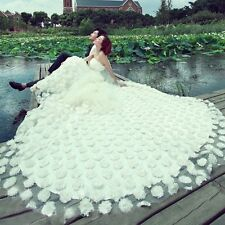 2014 New White Long Tail Wedding Dresses Prom Party Quinceanera Dress Ball Gown