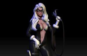 Sexy Black Cat Undressing | Miniature Pin Up | Resin Figure Garage Kit