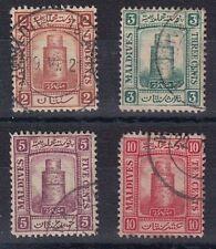 Maldives Islands 1909 KEVII Minaret Juma Mosque Used Stamps (x4) SG7 to SG10