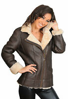 CLEARANCE Ladies Real Sheepskin Leather Flying Aviator Jacket Beige Fur
