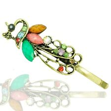 Vintage Style Colourful Green Pink Bronze Peacock Hair Pin Accessories HA90