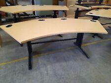 Height Adjustable Wing shaped office desk 1600 crank handle beech black legs