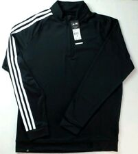 adidas Golf Men's 3 Stripes Pullover Shirt Medium Black Quarter Zip Climalite