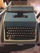 Vintage 1957 Blue Olivetti Underwood Comes With Case  Model 21 Typewriter