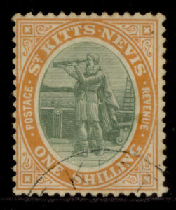ST KITTS-NEVIS EDVII SG20a, 1s grey-green & orange, USED. Cat £35.