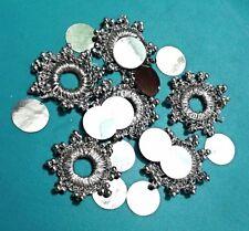 18 Silver Beaded Crochet Mirror-RIMS 1.8cm flat backed 2 Sew Glue 4 Card Craft