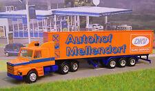 """Scania Hauber 142 Sattelzug  orange  """" Autohof Mellendorf """"    Herpa Nr : ohne"""