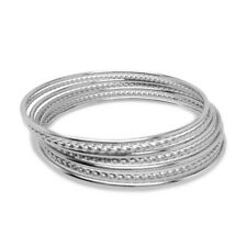 Thin Stackable Silver Bangle Bracelet Set of 7 Stainless Steel Jewelry for Her