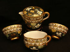 MARKED Kutani Kaga JAPANESE MEIJI PERIOD KUTANI TEA SET POT & CUPS & WATER CUP