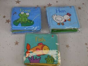 3 Usborne Babies Cloth Books Hen, Frog and Fish Brand New