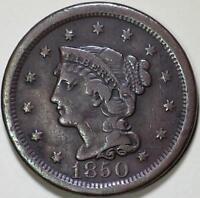 1850  Braided Hair Large Cent, N-18 R4  Die State A-B - ** VF **  Rare