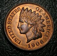 OLD US COINS 1906 INDIAN HEAD CENT PENNY UNC FULL LIBERTY RED BROWN  BEAUTY
