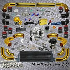 T3/T4 .63A/R TURBO KIT INTERCOOLER 12PC GOLD PIPING DUO SWITCH BOOST CTRLER BOV