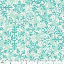 By 1/2 Yard Blend Fabric ~ Vintage Noel Crochet Snowflakes Blue Christmas Snow