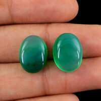 FINEST EVER 18.10 CTS / 2 PCS NATURAL OVAL SHAPED RICH GREEN ONYX GEMSTONES