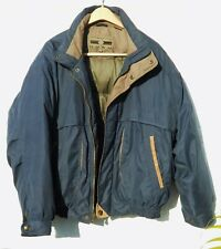 Members Only Down Filled Coat/Jacket  Size Larg, Blue with Leather Trim
