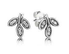 Stud Pandora Earrings - Sterling Silver & Cubic Zirconia Sparkling Leaves