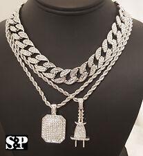 "Hip Hop Quavo Iced Out 15mm 16"" Miami Cuban Choker Chain & Power Plug Necklace"