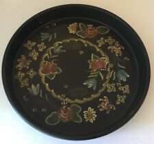 """Tole Toleware BLACK Tin Serving Tray Floral 13"""" Round HAND PAINTED Unmarked"""